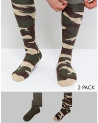 ASOS - Festival Welly Socks With Camo Design 2 Pack - Lyst
