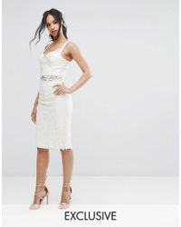 Chi Chi London - Crochet Lace Pencil Skirt Co Ord - Lyst