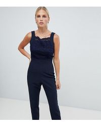 Vesper - Square Neck Lace Tailored Jumpsuit With Tie Back - Lyst