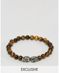 Simon Carter - Tigers Eye Beaded Bracelet With Double Skull Exclusive To Asos - Lyst