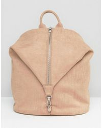 LAMODA - Faux Suede Zip Detail Fold Backpack - Lyst