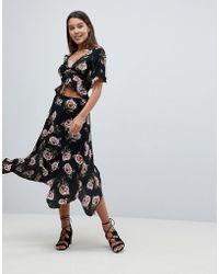 AX Paris - Floral Hankey Hen Skirt - Lyst