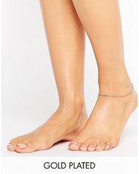 Pilgrim - Rose Gold Ankle Chain - Lyst