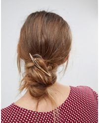 Orelia - Brushed Navette Barrette Hair Clip - Lyst