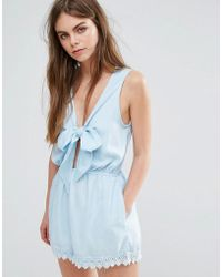 Oeuvre - Oeurve Tie Front Romper - Lyst