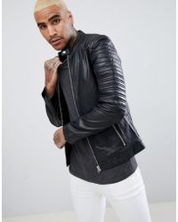 Goosecraft - Turin Leather Biker With Quilted Shoulders In Black - Lyst