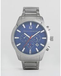 French Connection - Stainless Steel Watch With Blue Dial - Lyst