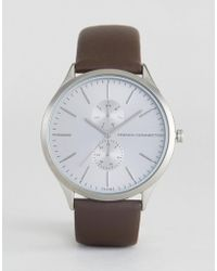 French Connection - Gents Brown Leather Strap Silver Dial With Subdials Watch - Lyst