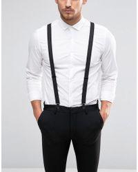 ASOS - Design Wedding Braces With Black Coated Trims - Lyst