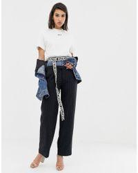 Miss Sixty - Pantaloni gessati in lana con vita in denim - Lyst