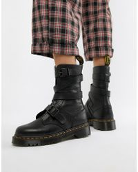 Dr. Martens - Bevan Black Leather Strappy Chunky Flat Ankle Boots - Lyst