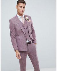 ASOS - Chaqueta de traje ajustada con pespuntes en burdeos oscuro y forro estampado de Wedding - Lyst