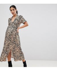 8bad6dbc8f24 ASOS Asos Design Petite Cowl Front Midi Slip Dress In Leopard Print - Lyst