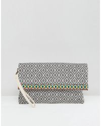 South Beach - Holiday Beach Clutch Bag With Embroidered Trim - Lyst