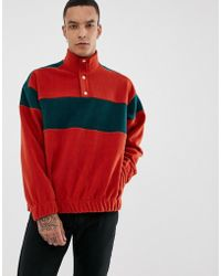 ASOS - Oversized Sweatshirt In Fleece With Popper Neck And Color Block Panels In Red - Lyst