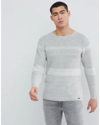 Only & Sons - Knitted Jumper With Mixed Stripe - Lyst