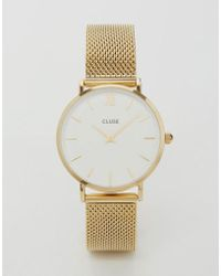 Cluse - Minuit Cl30010 Mesh Strap Watch In Gold - Lyst