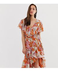 c9474595275ea ASOS - Asos Design Tall Midi Dress With Cape Back And Dipped Hem In Red  Based