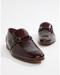 71e40f2ee Ted Baker - Paiser Embossed Loafers In Patent Burgundy Leather - Lyst