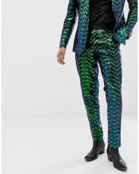 ASOS Skinny Tuxedo Trousers In Green Geo Patterned Sequins