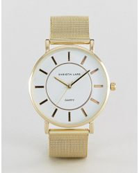 Christin Lars - Gold Bracelet Watch With Round White Dial - Lyst