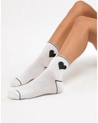 Monki - Heart Print Sport Socks - Lyst