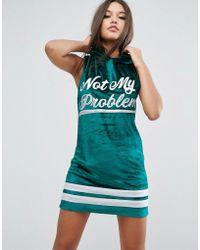 ASOS - Sleeveless Velvet Hoodie Mini Dress With Varsity Print - Lyst