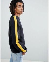 Criminal Damage - Long Sleeve T-shirt In Black With Side Stripe - Lyst