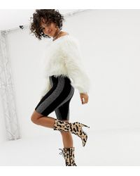 ASOS - X Laquan Smith legging Shorts In Glitter Stripe - Lyst