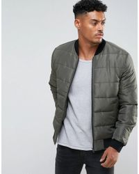 ASOS - Quilted Bomber Jacket In Khaki - Lyst