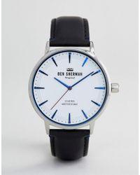 Ben Sherman - Wb020b Leather Watch In Black - Lyst
