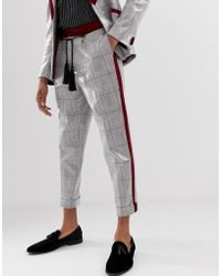 a7a8372ac ASOS - Tapered Suit Trousers In Grey Sequin Check With Rope Tassel Belt -  Lyst