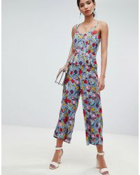 Y.A.S - Bold Floral Wide Leg Jumpsuit With Ruffles - Lyst