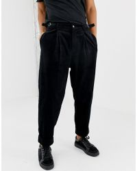 ASOS - Wide Balloon Pants In Black Cord With Pleats - Lyst