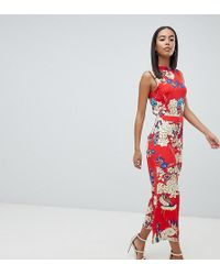 Missguided - Open Back Floral Culotte Jumpsuit - Lyst