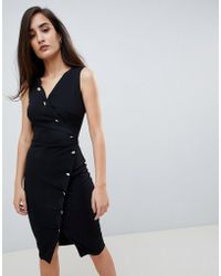 8b134c7a019a4 Lipsy - Button Front Bodycon Dress In Black - Lyst