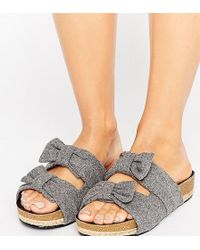 The March - Bow Slide Chunky Flat Sandals - Lyst