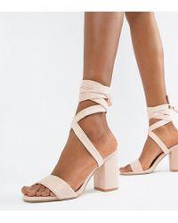 19f61938895 Dune Joye Silver Leather Kitten Heel Sandals in Metallic - Lyst