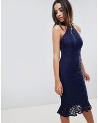 Girl In Mind - Lace Frill Hem Midi Dress - Lyst