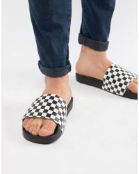 Vans - Checkerboard Sliders In Black V4kiip9 - Lyst