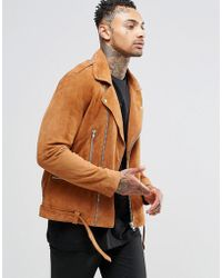 ASOS - Belted Suede Biker Jacket In Tan - Lyst