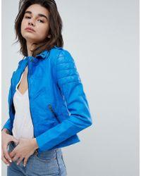 Muubaa - Presley Cobalt Leather Biker Jacket - Lyst