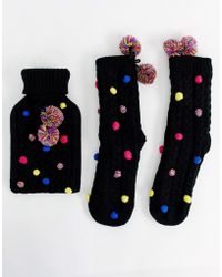 ASOS - Holidays Pom Pom Hot Water Bottle And Socks Pack - Lyst