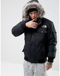 The North Face - Gotham Bomber Jacket With Detachable Faux Fur Hood In Black - Lyst