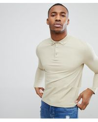 ASOS DESIGN - Pique Long Sleeve Polo With Button Down Collar In Beige - Lyst