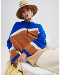Weekday - Stripe Panel Knit Jumper In Blue And Stripe - Lyst