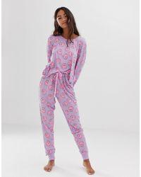 Chelsea Peers - Pomeranian Printed Long Pyjama Set In Purple - Lyst