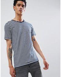 Bershka - T-shirt In Navy And White Stripe - Lyst