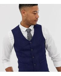 0a03451ba604f ASOS - Tall Wedding Skinny Suit Waistcoat In Blue Wool Blend Herringbone -  Lyst