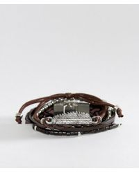 ASOS | Leather And Plaited Bracelet Pack With Feather In Brown | Lyst
